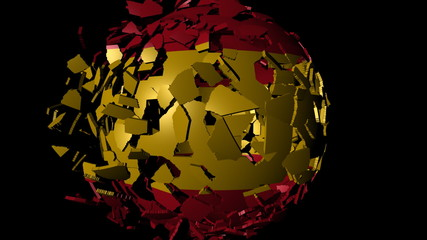 Spain flag sphere combining and breaking apart animation