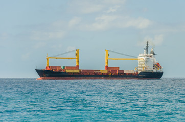 Container Ship Sailing in the Caribbean