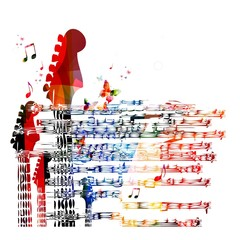 Colorful music guitar background. Vector