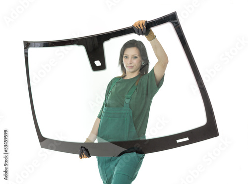 Glasser with windscreen or windshield and white background