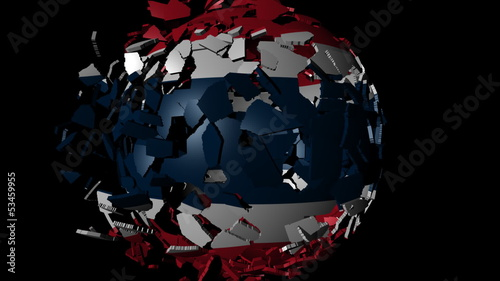 Thailand flag sphere combining and breaking apart animation