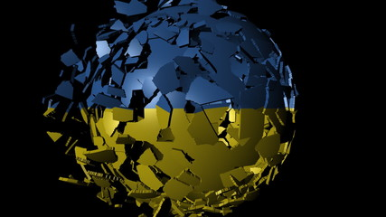 Ukraine flag sphere combining and breaking apart animation