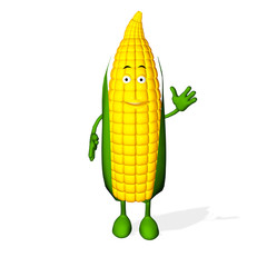 3d rendered of Corn Cute Character