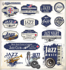 Jazz music stamps and labels
