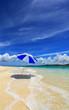 南国沖縄 白い砂浜とビーチパラソル