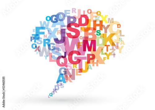 Fumetto comunicazione nuvola lettere parole