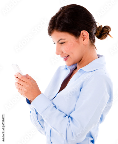 Business woman texting