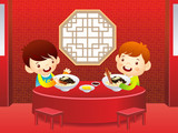 Let's eat Chinese food.  Education and life illustration series.