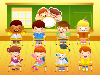 In classroom.  Education and life illustration series.