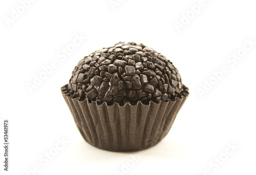 Brazilian food. Brigadeiro made of condensed milk and chocolate
