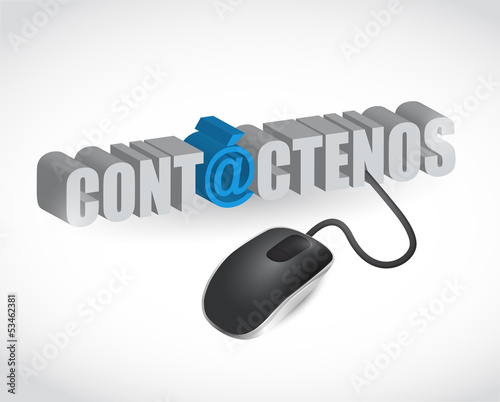 spanish. contact us sign and mouse