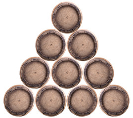 Group of wine barrels on a white background