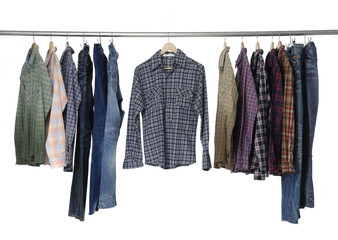 sleeved plaid cotton with jeans on a wooden hanger