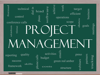 Project Management Word Cloud Concept on a Blackboard