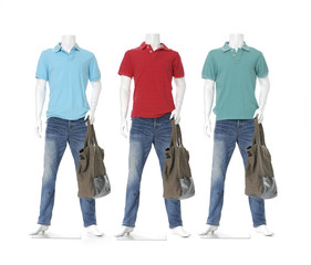 Full length mannequin dressed in jeans with bag