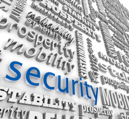 Financial Security 3D Word Background Prosperity Stability