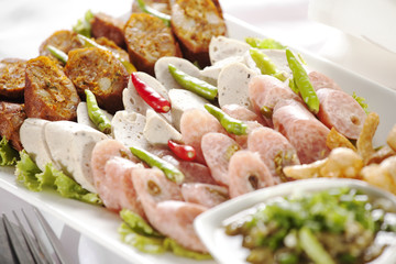 Thai appetizer, Thai style mixed traditional sausages