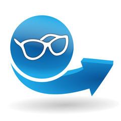 paire de lunettes sur bouton web bleu