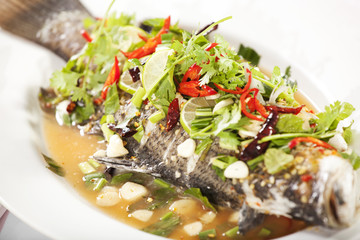 steamed fish, steamed fish seasoning in Thai style spicy sauce