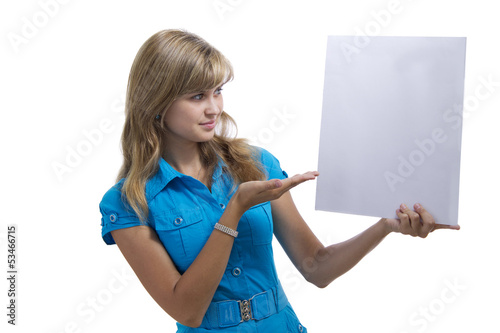 beautiful girl advertises with an empty card