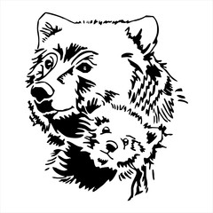Mother and Baby Bear head tattoo vector