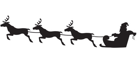 Santa Claus riding on a reindeer sleigh