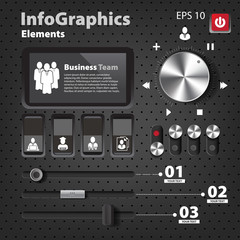 Set of elements for infographics in UI style with switches