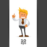 Happy office manager. Vector illustration 10 eps