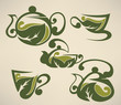 green tea,cups and pots vector collection of forms, symbols and