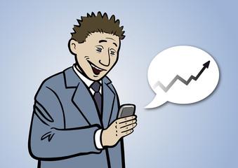 Sein Börsen-App zeigt Font Manager Pete steigende Kurse