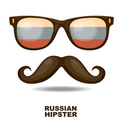 Russian Hipster. Vector illustration
