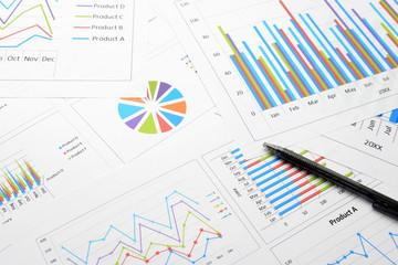 ビジネスチャートとボールペン