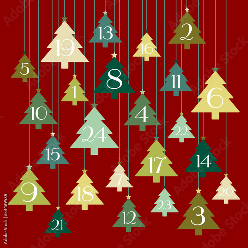 Advent Calendar Hanging Trees Red/Green