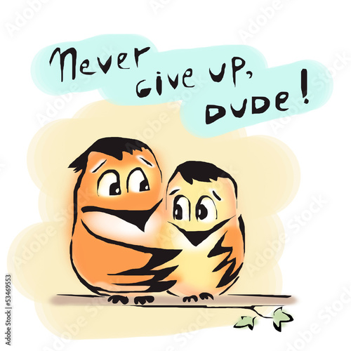 Never give up birds friends dude encourage