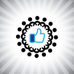 Concept vector graphic- social media like hand icons(Symbol) & p