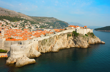 Panoramic sea view of old Dubrovnik with the bay and the city wa