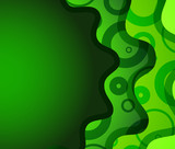 Green roundish wave abstract background with ornament