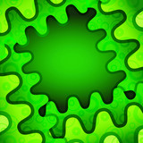 Green wave abstract background with ornament