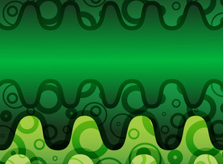 Green horizontal wave abstract background with ornament