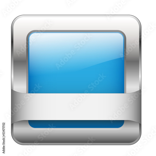 Blue Web Button (sign badge icon symbol blank template square)