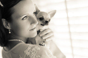 Woman and chihuahua