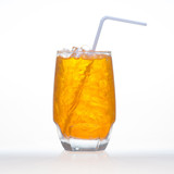 Sparkling orange flavor soft drinks with water soda and ice