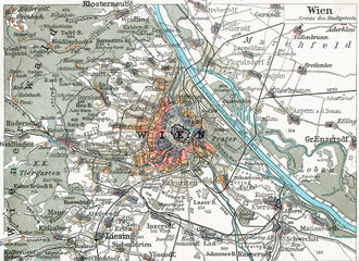 Wien historical map from the 20ties