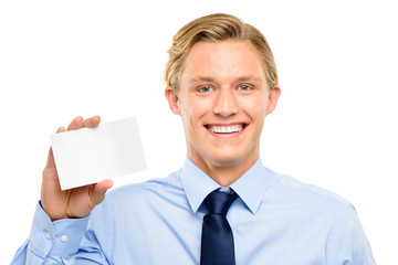 Confident young businessman holding placard isolated  on white b
