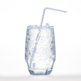 Sprite drinks with sparkling soda and ice in glass isolated