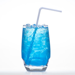Blueberry flavor aerated soft drinks whit ice in glass isolated