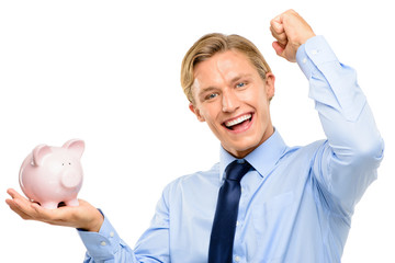 Confident young businessman holding piggybank is successful isol