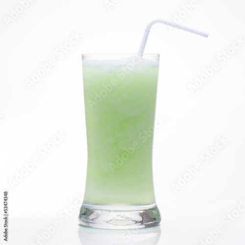 Guava shake drink in glass isolated on white