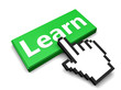 E-Learning Concept - Learn button with hand cursor