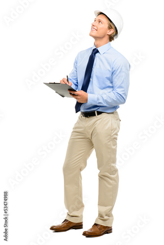Happy young businessman architect planning ahead isolated on whi